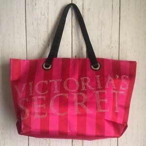 Victoria's Secret Pink/Red Stripes Bling Tote Bag